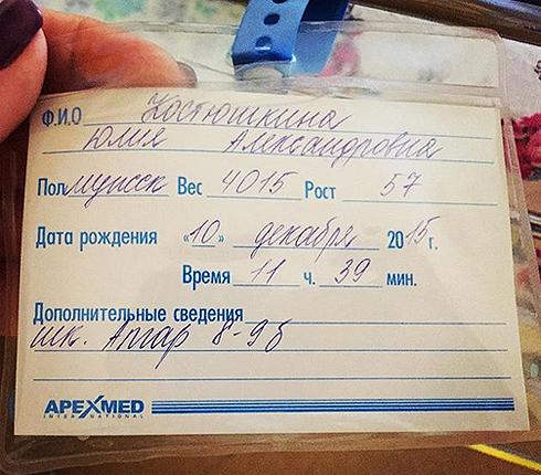 Стас костюшкин назвал сына редким греческим именем