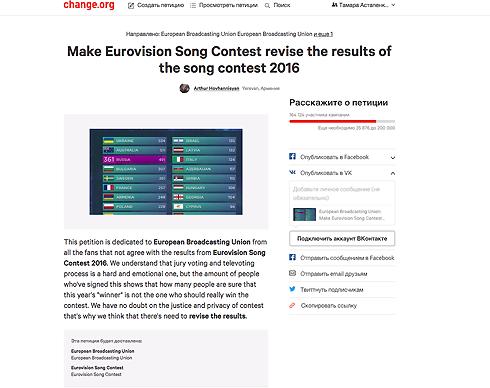 В сети собирают подписи за пересмотр результатов «евровидения»